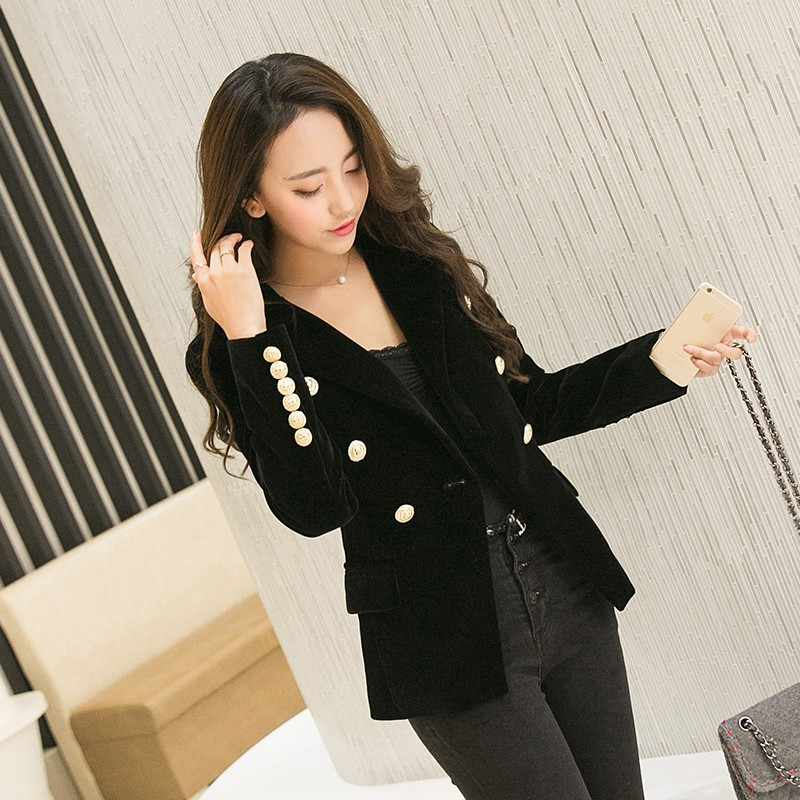 Brand New Fashion Spring Autumn Women Black Slim Velvet Blazer Jacket Wine Red Double Breasted Simple Lady Blazers OL Clothing