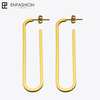 Enfashion Jewelry Geometric Oval Shape Dangle Earrings Gold Color Stainless Steel Long Drop Earrings For Women
