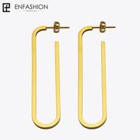Enfashion Jewelry Geometric Oval Shape Dangle Earrings Gold Color Stainless Steel Long Drop Earrings For Women