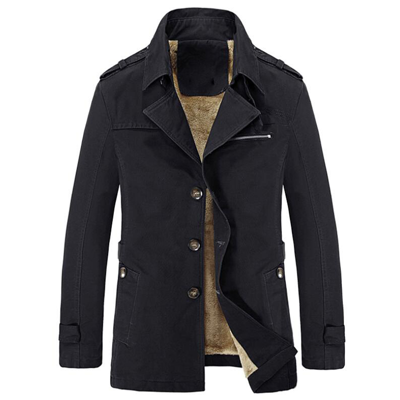 Man's Winter Trench Coat Parka Men Designer Clothes Thick Warm Casual Slim Windbreaker Jacket Male Pure Color Casual Jackets 3xl