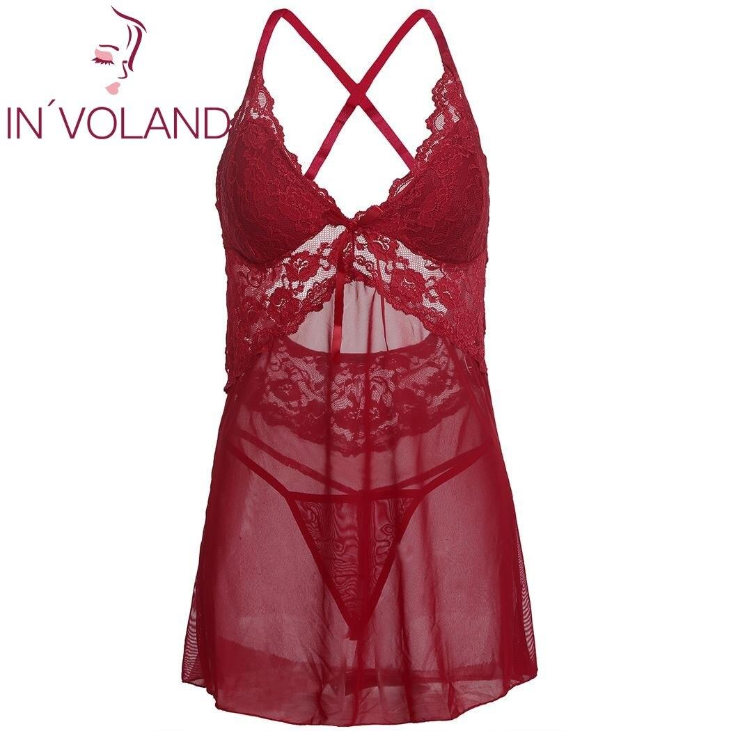 design de qualité c65a5 d5901 € 8.74 46% de réduction|IN'VOLAND grande taille femmes Sexy chemises de  nuit robe chemises de nuit Lingerie rembourrée dentelle maille nuisette ...