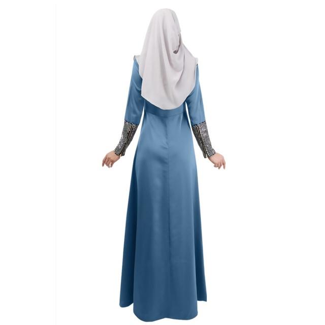 Kaftan Abaya Islamic Women Long Sleeve Elegant Maxi Long Muslim Dresses 3 Colors