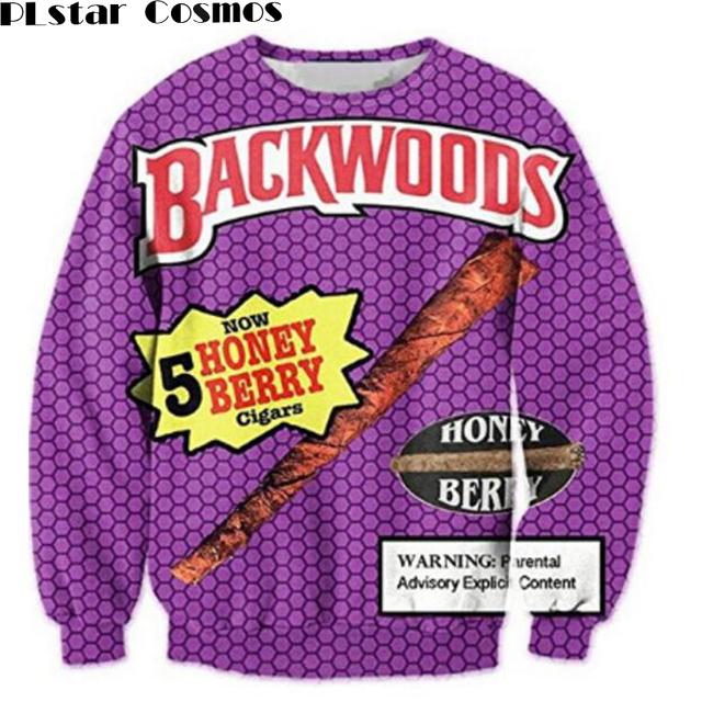 PLstar Cosmos Backwoods Honey Berry Crewneck Sweatshirts Women/Men Casual Hoodies Funny Foods 3D Print Pullovers