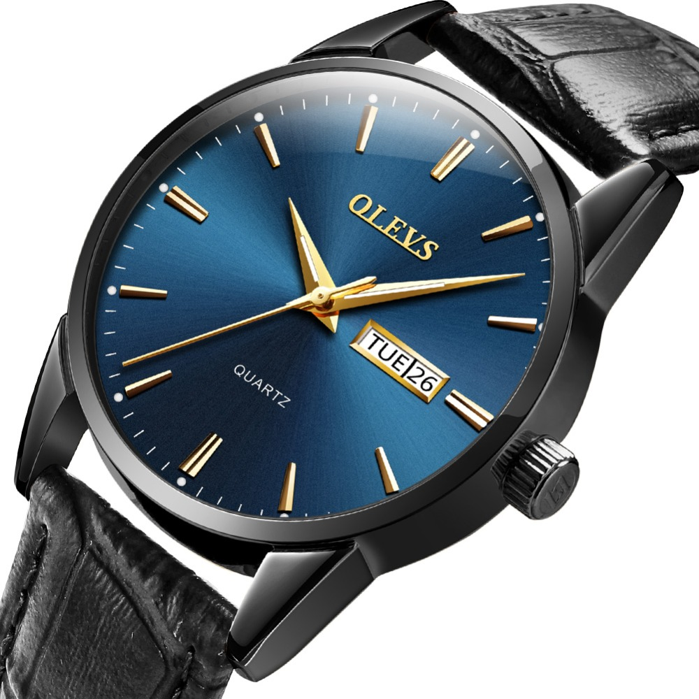 Watches Men Fashion Sport Men's Quartz Watch Auto Date Clock For Man Watch Black Leather Luminous Waterproof Wristwatch OLEVS