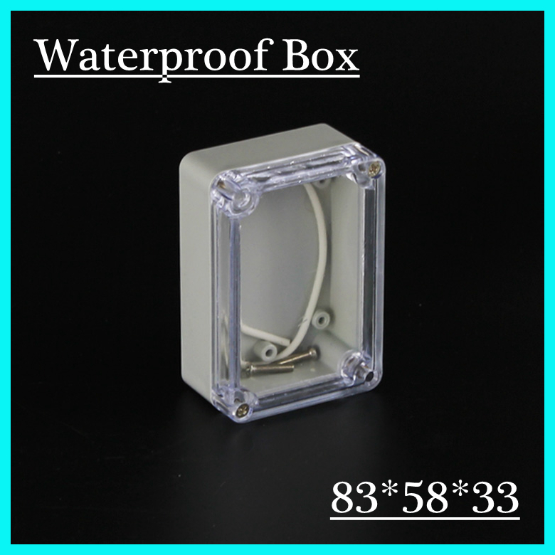(1 piece/lot) 83*58*33mm Clear ABS Plastic IP65 Waterproof Enclosure PVC Junction Box Electronic Project Instrument Case waterproof abs plastic electronic box white case 6 size