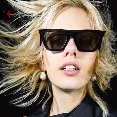 Women 2019 Fashion Square Sunglasses Women Cat Eye Vintage Retro Black Sun Glasses Clear Lens Large Frame Female Shades Oculos in Women 39 s Sunglasses from Apparel Accessories
