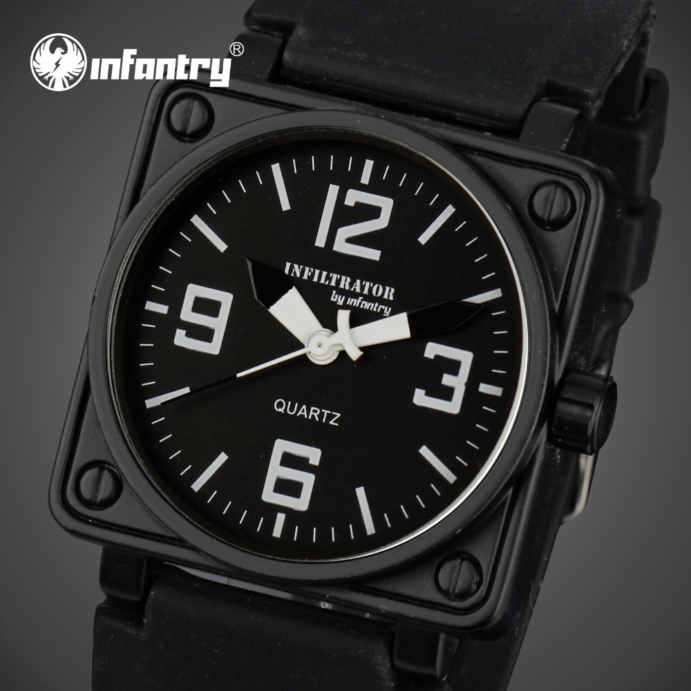 INFANTRY Men Quartz Watches Square Face Rubber Strap Relogio Masculino 3Bar Waterproof Sports Military Wristwatches
