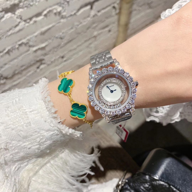 New Brand Women Luxury Jewelry Watches Fashion Transparent Movable Happy Crystals Watch Full Steel Bracelet Wrist watch Quartz
