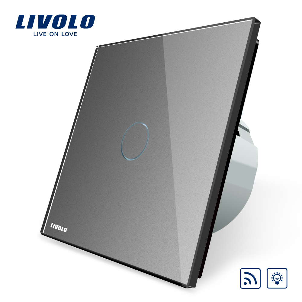 Livolo EU Standard Switch, VL-C701DR-15,Grey Glass Panel, AC 220~250V Remote& Dimmer Function Wall Light Switch(No Remote) eu plug 1gang1way touch screen led dimmer light wall lamp switch not support livolo broadlink geeklink glass panel luxury switch