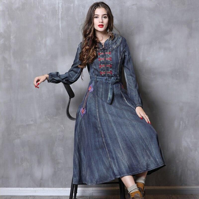 Femmes robe printemps et automne rétro lâche taille haute dame bleu Denim robe à manches longues bonne qualité plus longue rétro denim robe