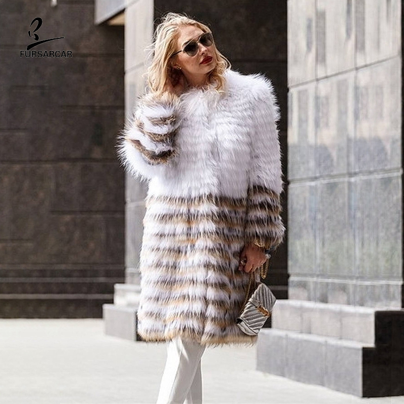 FURSARCAR 2019 Real Raccoon Dog Fur Coat For Women White And Brown Patchwork Natural Fur Long Jacket Striped Genuine Fur Coats