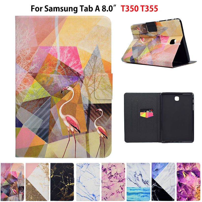 Marble Pattern Case For Samsung Galaxy Tab A 8.0 T350 T351 T355 P350 P355 Case Smart Cover Funda Tablet PU Leather Stand Shell luxury tablet case cover for samsung galaxy tab a 8 0 t350 t355 sm t355 pu leather flip case wallet card stand cover with holder