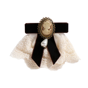 Women Elegant Lace Ribbon Bow Queen Cameo Pearl Vintage Brooch for Birthday Christmas Lady Gifts 2020 New 1pcs(China)