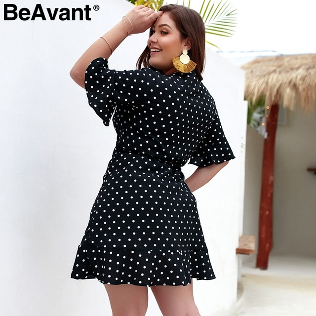 BeAvant Polka dot casual women dress plus size V neck sashes summer dresses 2019 Elegant flare sleeve mini short dress vestidos 5