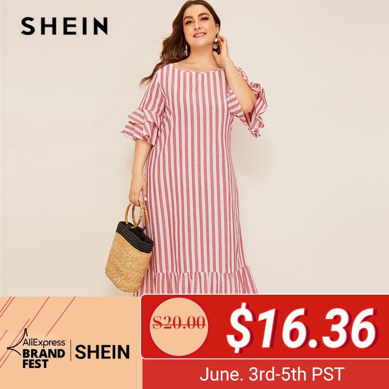 SHEIN плюс размер, Полосатое платье в пол с рукавами-колокольчиками и оборками, 2019, Женская Повседневная Туника с рукавом три четверти