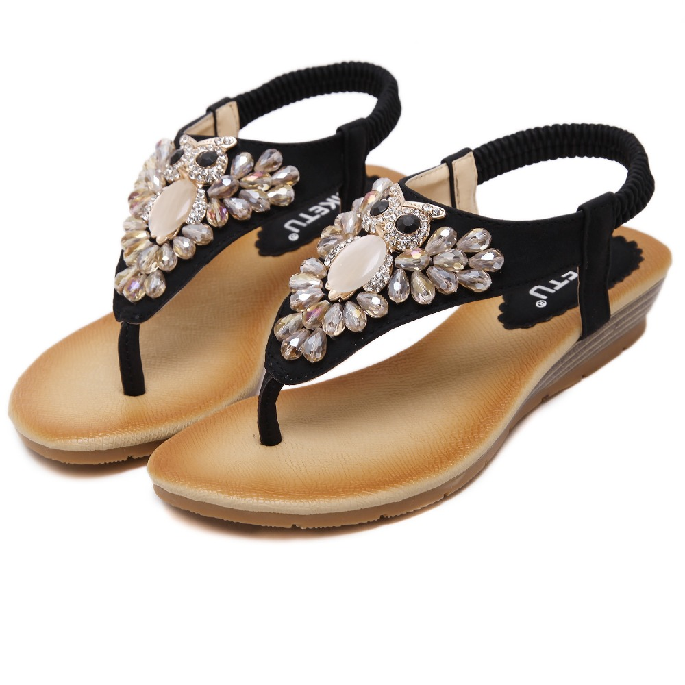 Black rhinestone sandals flat