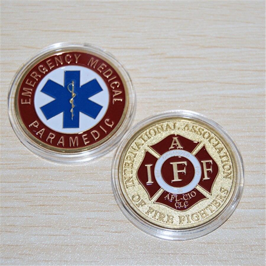 Бесплатная доставка, аварийный Спецодежда медицинская фельдшер/iaff-огонь вызов для монет