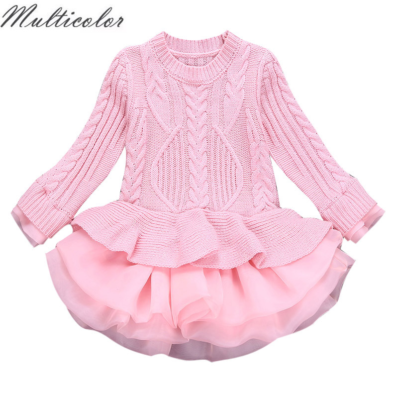 Multicolor 2018 Thick Warm Girl Dress Wedding Party Dresses Knitted Chiffon Winter Kids Girls Clothes Children CLothing vestidos children clothing new winter style knitted thick warm girl dress mesh patchwork o neck cute autumn baby kids girls dresses xl269