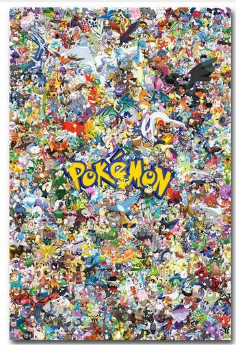 Pikachu - Pokemon All Monsters 9style Art Wall Decor Silk Print Poster