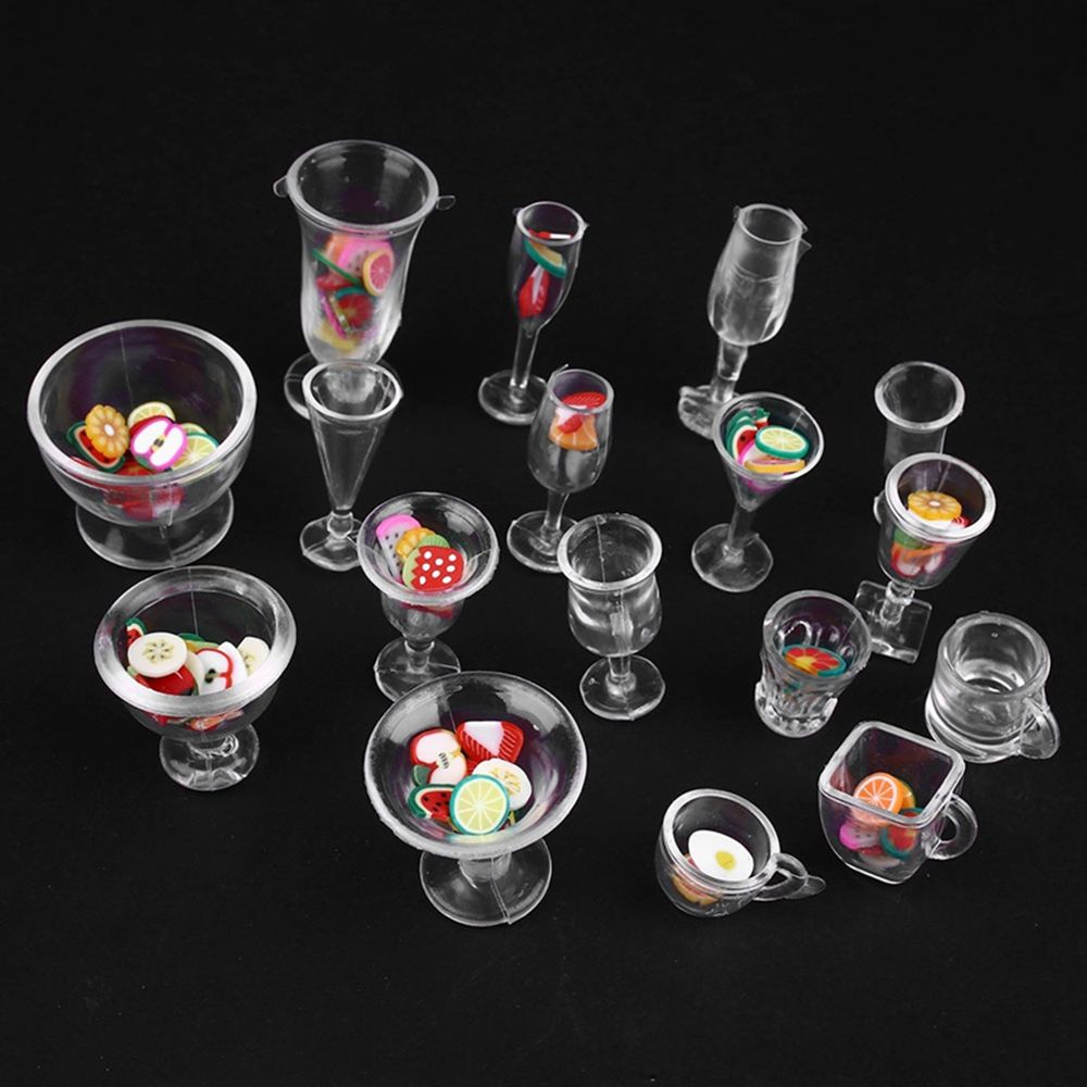 Hot Sale 17pcs/Set Mini Transparent Drink Cups Dish Plate Tableware Miniatures DIY Toy Brand New And High Quality