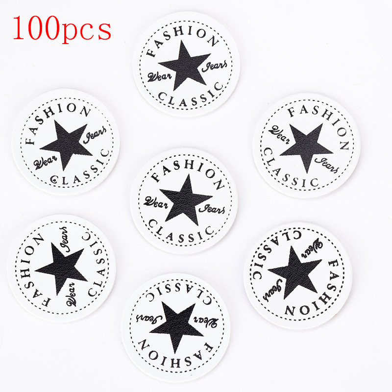 2019 Fashion 100pcs Handmade DIY Craft Circle Pentagrams PU Leather Tags Embossed Flag Labels For Garment Sewing Accessories