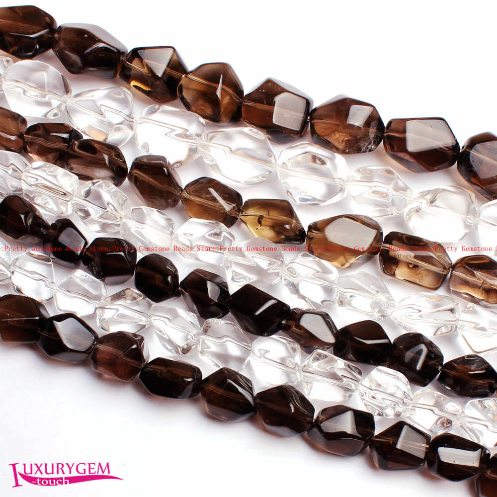 Free Shipping Smooth Natural Crystal Irregular Faceted Shape Gems Loose Beads Strand 15