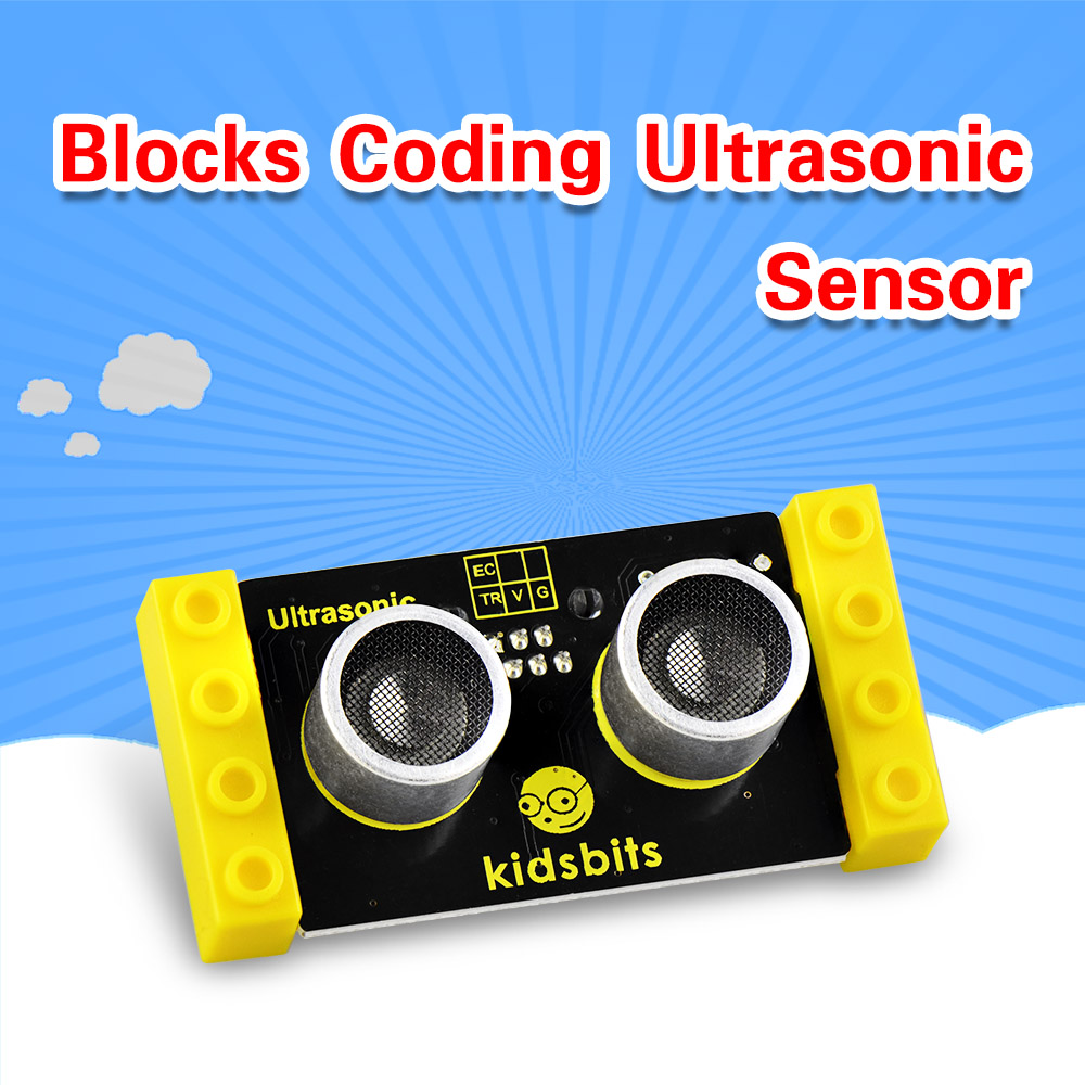 Kidsbits Blocks Coding Ultrasonic Sensor Module For Arduino STEAM EDU (Black And Eco Friendly)