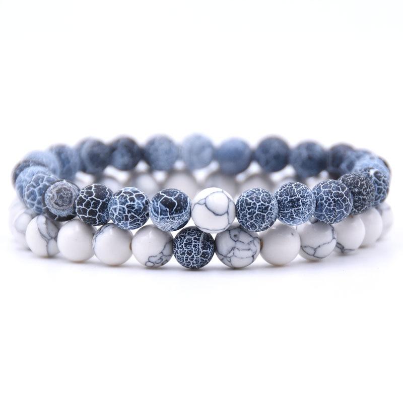 2Pcs/Set Couples Distance Bracelet Classic Natural Stone 18 styles Beaded Bracelets for Men Women Best Friend