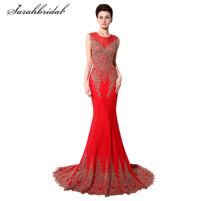 Elegant Sexy Mermaid Long Formal Evening Dresses Sweep Train Sheer O-Neck Prom Gown Back Zip Sleeveless Appliques In Stock XU028