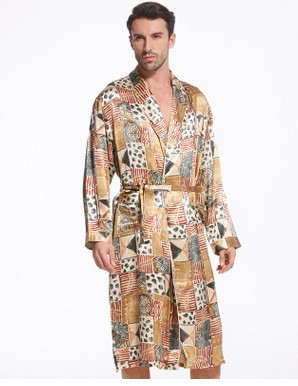 Silk sleepwear man 100 silkworm silk pajamas elegant luxurious medium long style bathrobe manufacturer