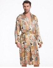 Шелковые пижамы человек 100% шелкопряда шелковые пижамы элегантный роскошный средней длины стиль халат производителя