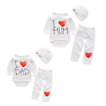 Love mam amp papa zestawy ubrań dla niemowląt bawełniane ubrania chłopięce garnitur noworodka dziewczynka garnitur 3 sztuk z długim rękawem body niemowlęce + spodnie + czapka tanie i dobre opinie baby Tkaniny Odile Pełna Unisex O-neck Swetry List Na co dzień boy s clothing sets Pasuje prawda na wymiar weź swój normalny rozmiar