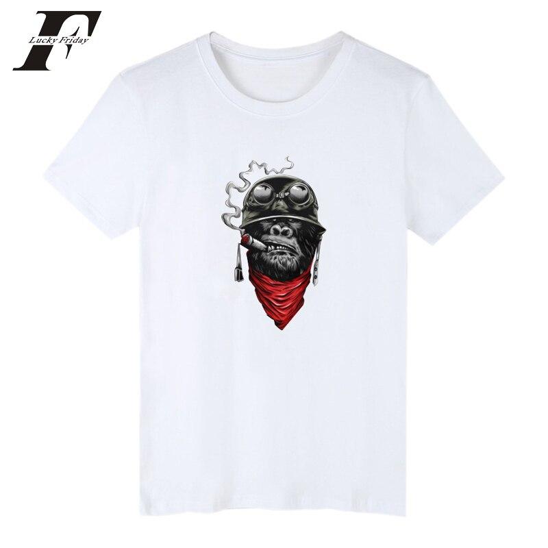 2018 Smoking Monkey Print T Shirts Men Women Cotton Summer Fitness T Shirt Unisex Hip Hop Cartoon T-shirt Tee Smoking 4xl Moderate Price T-shirts