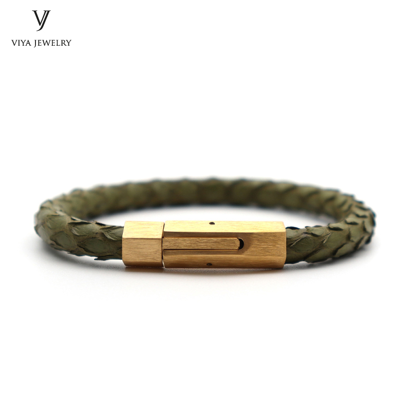 New Amy Green Python Leather Bracelet Men Magnet Buckle Bracelet High Quality 316L Stainless Steel Bracelets For Watch