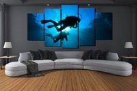 New Design High Quality 5 Panels n Set Diving in the Sea Printed Canvas Painting Blue Sea Landscape Wall Decorative Pictures