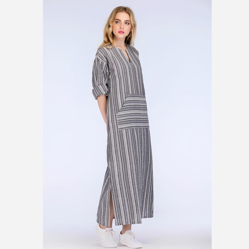 2018 Autumn Women Striped Dress Sexy V Neck Long Sleeve Maxi Long Dresses Vintage Casual Loose Plus Size Vestidos in Dresses from Women 39 s Clothing