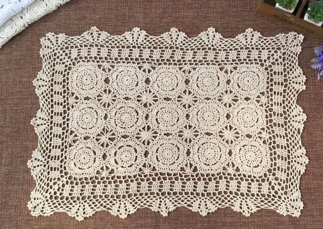 Tienda Online Vendimia Encaje algodón crochet mantel rectangular de ...
