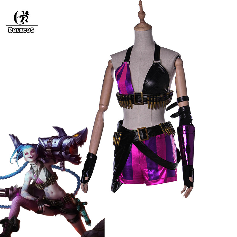 ROLECOS Jinx LOL Cosplay Costume Jinx Cosplay Game LOL Costume Women  Halloween Costume Full Set 6db34eac70f3
