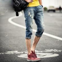 Мода 2017 лето мужская джинсовые подростков рваные джинсы ноги штаны старинные хип hop ковбой slim fit отбортовки джинсовые капри брюки