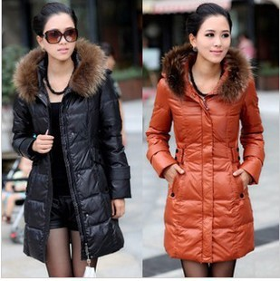 Hot selling 2015 winter stylish fur medium long down jacket with ...