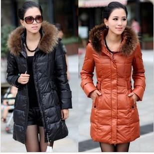 Hot selling 2015 winter stylish fur medium-long down jacket with belt women's skinny warm long parkas ladies thickening outwear