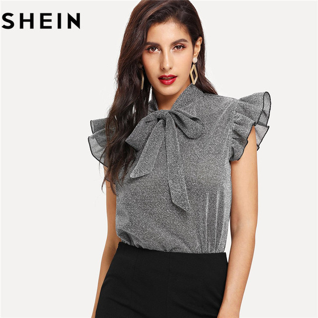 dc7ab17484ea9d SHEIN Womens Gray Tied Neck Ruffle Sleeve Summer Casual Tops And Blouses  2018 New Elegant Office Lady Party Glitter Top Clothing