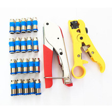 RG59(4C) RG6(5C) compression connector crimping Tool Coax Cable Wire Stripper Kit with 20 PCS RG6 Compression f Connector