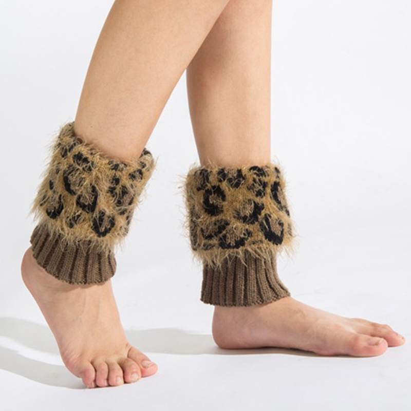 Fashion Leopard Women Leg Warmer Crochet Warm Short Boot Cuffs Women Knitted Long Socks Autumn Warmer Lady's Leg Warmer Socks