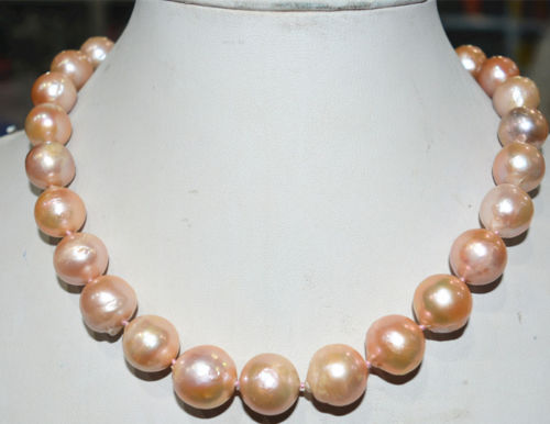 Free shipping >>>>>>Charming!Real14-16mm South Baroque pink Akoya Pearl shell Necklace AAAA+ цена и фото