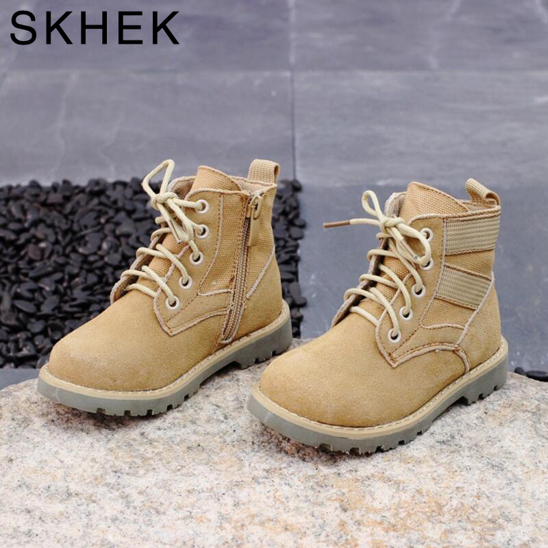 SKHEK Autumn Baby Boys Rubber Shoes For Children Dress Boot Girl Fashion Martin Boots Toddler Genuine Leather Boots Black