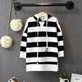 Children girls Stripe Sweatshirts Long hooded dress Fashion spring Children cotton cute sweat dress long sleeved Hoodies dresses