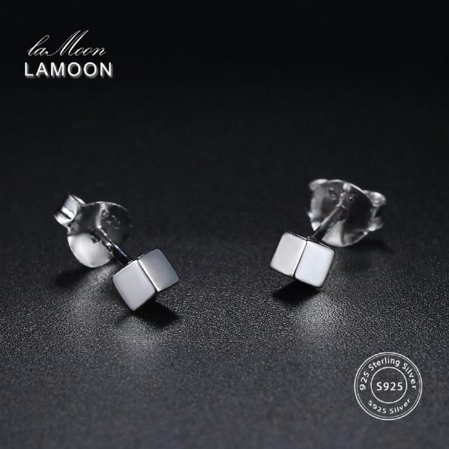 LAMOON 2018 New Fashion Cube 100% Real 925-Sterling-Silver Stud Earrings S925 Fi