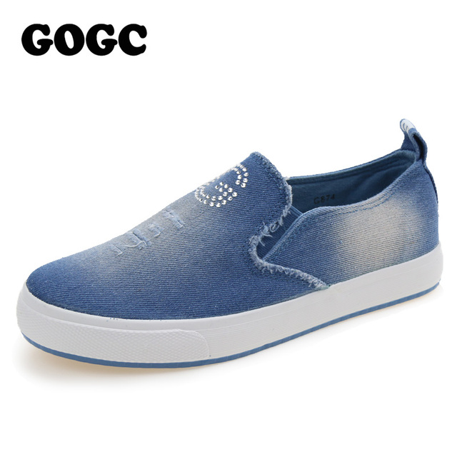 GOGC Fashion Denim Shoes with Crystal Breathable Ladies Casual Canvas Shoes Women 2017 Flat Shoes Women Female Footwear Slipony