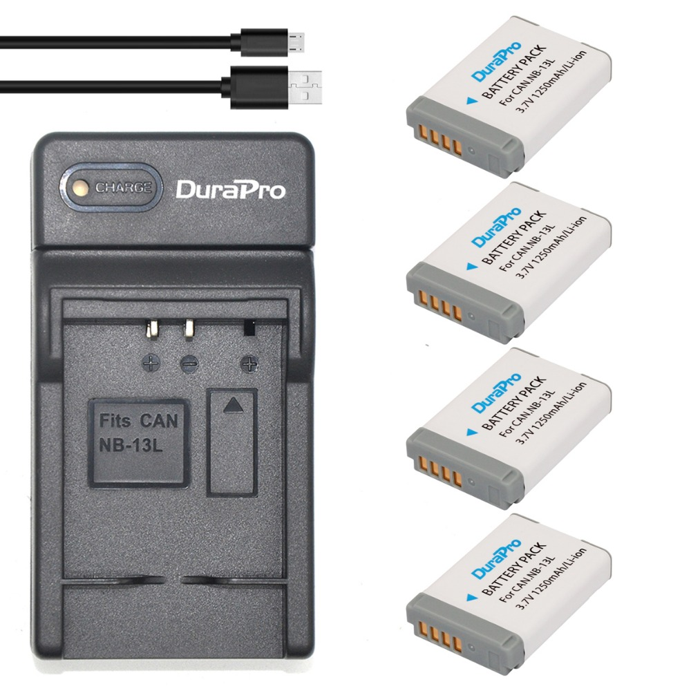 DuraPro 4Pcs NB-13L  Battery +Ultra Slim USB Digital Charger for Canon PowerShot G5 X G7 X G7 X Mark II G9 X SX620 SX720 etc. фотоаппарат canon powershot g7x mark ii